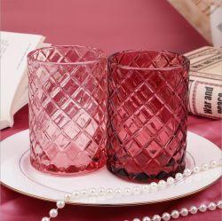 VSS Nuevo vaso vacío de vela de vidrio en relieve diseñado para regalo