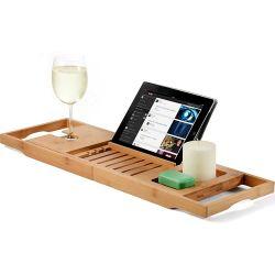 Bañera Caja Bambú Bandeja de tela para montaje en bastidor Bañera Baño Teléfono/vino/Titular de la tableta