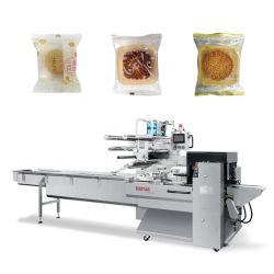 包む最も新しい皿の月ケーキのサーボモーター水平のパッキング機械パン屋の軽食の小さい食糧のための機械装置を包む