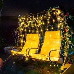クリスマスメッシュネットライト、 8 モードの 104 LED 屋外ソーラーライト、屋外ウォータープルーフのソーラーフェアリーライト、ウォール用ストリングライト、