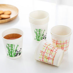 Vasos de papel desechables engrosamiento gran hogar Vaso Anti-Scalding papel de fibra de bambú de jugo de taza de café