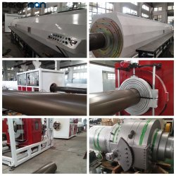 315 مم إلى 630 مم خط إنتاج الأنابيب الكبير PVC/UPVC 92/188 مخروطي برغي إمتدير قيد الاختبار في آلات بيرمان قبل التصدير