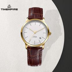 Het aangepaste Mechanische Horloge van het Roestvrij staal van de Manier van Mensen met de Riem van het Leer (72925)