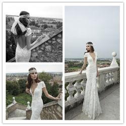 Encolure en V Sexy manches courtes robe de mariée de Mermaid (Dream-100108)