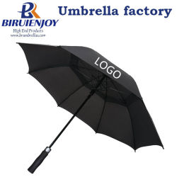 62/68インチのカスタムギフトまたは昇進または広告のためのロゴの印刷によって出される二重おおいが付いている自動防風のまっすぐなゴルフ傘
