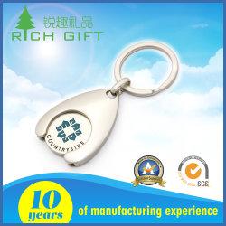 حامل مفتاح مخصص لعلامة الترولي المعدني Supermarket Metal Trolley Coin مع حلقة المفاتيح