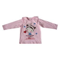 Детский одежды lovely girl длинной втулки девочек печати футболка