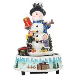 Résine de gros Voyant Xmas Bonhomme de neige rotatif de la scène musicale animée Boîte à musique de Noël