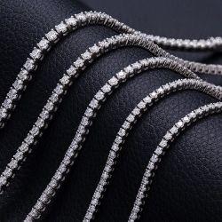 メッシの宝石類は 3 mm の 4 mm Moissanite を Ied 出た シルバーテニスブレスレット