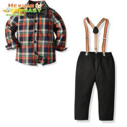 Primavera cavalheiro de algodão bebê meninos roupas Definir Plaid Biw superior de manga longa Camisa Tirante Rompers Suspensórios Pants