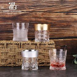 شاي قهوة زجاجية فاخرة من Royal Royal الفخم مصنوع من القهوة العربية بتقنية الخلط ذات اللون الأبيض العالي كوب مع ديكور فضى ذهبى للهدايا