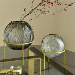 Soplado nueva bola de color original florero de vidrio estante de metal con decoración floral Hotel de diseño creativo la decoración del hogar adornos