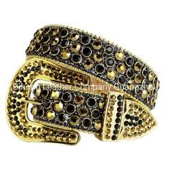 Desde 1979 West Bling de cristal de colores negro y oro rhinestone cowboy con clavos de la correa extraíble de la correa de hebilla para hombres