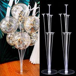 1set 7 Tubos GLOBO globo Soporte columna Soporte confeti globos para Baby Shower Boda Fiesta de cumpleaños Decoración de Navidad Accesorios