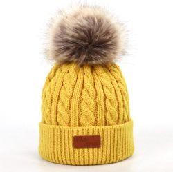 Tricotado de inverno mulheres Hat Guaxinim real das mulheres de POM POM peles Meninas Warm Fox Knit Beanie Hat