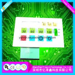 Interrupteur à membrane de rétroéclairage Graphich de superposition avec LED