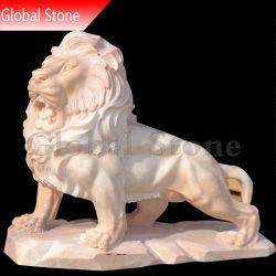 Tallada en piedra de mármol León escultura estatua de origen animal (SSG-220)