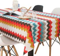 Einfache moderne gestreifte Baumwoll-und Leinen-Haushalts-Großhandelstischdecke