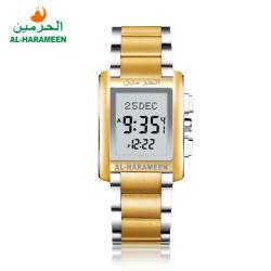 Goldfarben-Edelstahl Azan Uhr-moslemische Gebet-Zeit