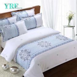 Blanc chaud Yrf Ventes jeu de feuilles imprimées lit d'hôtel 100% coton