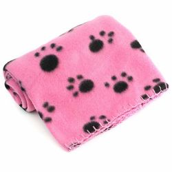 Pet Blanket For Dog Cat Animal 39 X 27 Inch Fleece Black Paw Print All Year Round Puppy Kitten Bed Warm Sleep Mat Fabric Indoors Outdoors Esg10698
