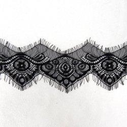 Química de Jacquard de poliéster de doble cara cinta de encaje de pestañas para vestir