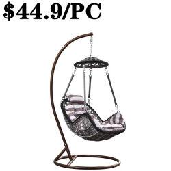 Стальная рама PE плетеную мебель из патио с садом висящих стул поворотного механизма