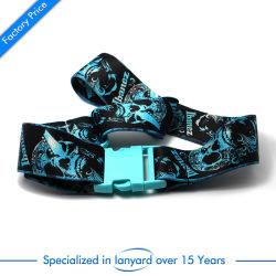 Bocal de tecidos de poliéster personalizado Corda de correia com fecho de segurança de plástico