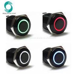 16mm 12V Negro Shell de enclavamiento de LED de empujar el coche Inicio Interruptor Pulsador de metal