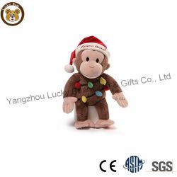 빨간 모자를 가진 대중적인 크리스마스 장난감 선물 견면 벨벳 원숭이