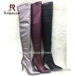 Леди на колено ботинки из натуральной кожи с помощью заклепки и молнии указывает носком Stilettos обувь