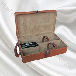 Edelstahl Werkzeuge Leder Wein Geschenkbox für Doppelflasche