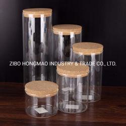 Hohe Borosilicat-Glas-Nahrungsmittelspeicher-Gläser stellten mit Korken-Oberseite-Kappen ein