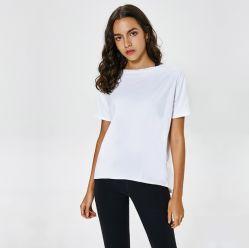 Nylon de haute qualité Dry Fit Les femmes jogging d'impression personnalisée Tops Salle de Gym Sports de chemise