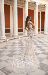 Encolure en V Sexy Fleur dentelle satin robe de mariée robe de mariée de mermaid