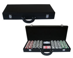 Negro de gran tamaño personalizado Póquer Cuadro de conjunto de chips de madera