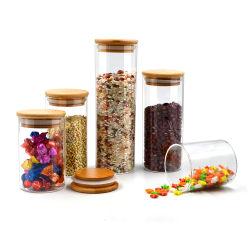 Fornecedor de boca larga Round hermético de borossilicato cozinha comida Massas Spice copo e armazenamento de recipientes de vidro com tampa de bambu de madeira