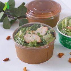 Papieren saladbak met deksel 500 ml-1300 ml door wegwerpbaar Kraftpapier