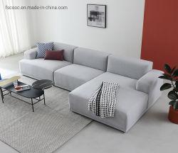 Sofà grigio-chiaro moderno di Seater del tessuto due del velluto della mobilia del salotto e sofà dell'angolo