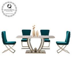 Mobiliário de luxo moderno de Aço Inoxidável mesa de jantar em mármore Artificial