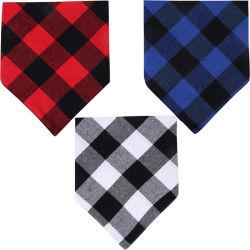 Chien de compagnie Bandana Triangle Bavoirs foulard rouge Double-Cotton Plaid mouchoir d'impression set accessoires pour les petites et moyennes chien