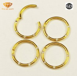 Titankarosserie der Qualitäts-G23, die IP-Gold-CZ-Wekzeugspritzen-Ring Tp1974G durchbohrt