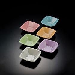 تصميم مربع الشكل 2 مخصص خفيف 5 بوصة وعاء بلاستيكي يمكن التخلص منه بعد الاستخدام