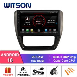 """Witson 10.2"""" grande ecrã o Android 10 aluguer de DVD para a Volkswagen Jetta 2017"""