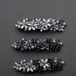 Clip di capelli per commercio all'ingrosso squisito elegante dei monili degli accessori della testa della geometria della forcella a cristallo semplice del fiore di modo delle donne il retro