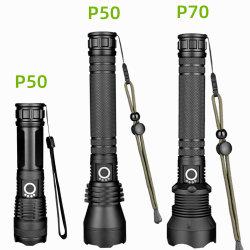Xhp50 Xhp70 USB-zaklamp voor buiten, oplaadbaar, aluminium, sterke lichtmetalen LED-telescopische flitsers