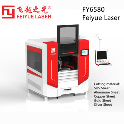 Fy6580s Feiyue الليزر ألياف قاطع آلات مجوهرات لوحة سي إن سي معدات السعر Precision Gold Silver Steel SS الألومنيوم ورقة نحاسية معدنية آلة قص الليزر