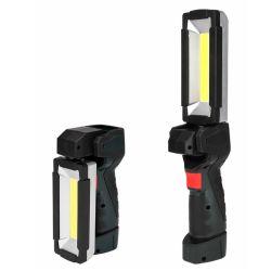 Feu de travail de rafles Rechargeable LED, 5W Lampe de poche avec rouge+couleur blanche, lampes de réparation de voiture pliable avec crochet et de la base magnétique