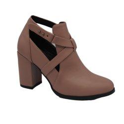 Short New Fashion à boucle de ceinture à talons épais automne et hiver Chaussures Boots pour Femme