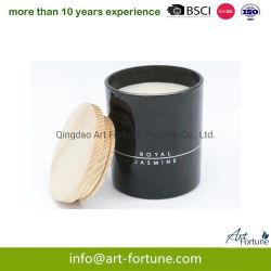 Воскообразный антикоррозионный состав для горячего продажи сои со стеклянным кувшином при свечах с крышкой из дерева